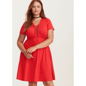 Torrid NWT Jersey Lace Up Skater Dress 3X